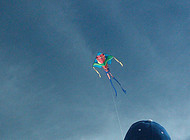 A boy flies a kite at the beach